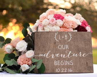 Our Adventure Begins Sign, Wedding Welcome Sign, Wooden Wedding Sign, Let the Adventure Begin, The Adventure begins Sign, Personalized Signs