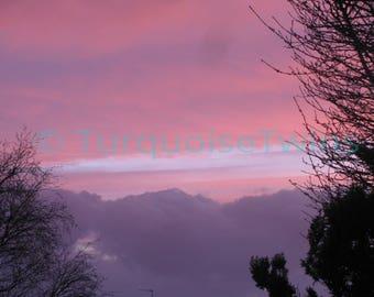 Pink and purple sunset. Nature photography fine art print. Wall art.