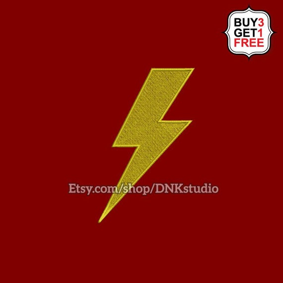 Lightning Bolt Flash Embroidery Design 5 Sizes INSTANT