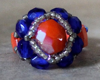Czech Fire Polished Woven Ring in Orange and Cobalt