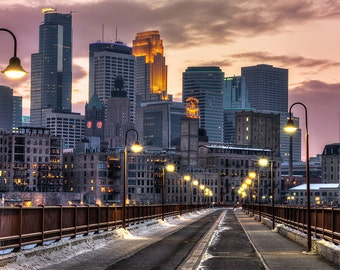 North Star Night, Minneapolis, Minnesota, Stone Arch Bridge, Mississippi River, Skyline, Downtown - Travel Photography, Print, Wall Art