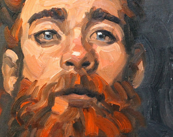 Red Beard, oil on canvas panel 11x14 inches by Kenney Mencher
