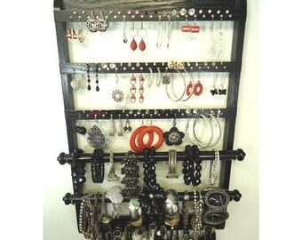 ON SALE Ebony Solid Oak Hardwood Double Bracelet Display, Elegant Jewelry Organizer Earring Holder, Necklace Organizer, Gorgeous Wall Mount
