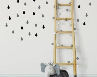 Rain Drop Wall Stickers - Rain Drops - Rain Drop Wall Decals - Raindrop Wall Stickers - Nursery Wall Decal - Wall Decals - Peel & Stick