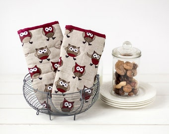 Kitchen oven mitts with owls - owl oven mitt set - Cooking mitts - Linen oven mitts - Grey cooking oven gloves - Mother's day gift