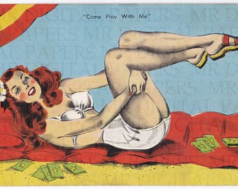 Antique Postcard / Risque Card / Pin Up Postcard / Digital Instant Download / Paper Ephemera / WW2 Postcard / Naughty Postcard/ Pin Up Girl