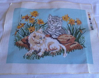 Vintage Cats Kittens In Flowers Needlepoint Stitchery Kit Mazaltov's Aqua Picture Wall Art Cottage Romantic Chic French Country