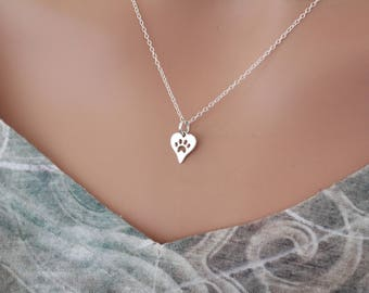 Sterling Silver Paw Print Necklace, Puppy Paw Print Cutout Necklace, Dog Paw Print Charm Necklace, Cat Paw Print Cutout Necklace, Paw Print