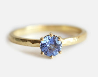 Solitaire Sapphire Ring, Blue Sapphire Engagement Ring, Prong Set Sapphire Ring, Light Blue Sapphire Ring, 18k Yellow Gold Hammered Ring