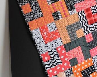 "Modern Baby Quilt; ""William"" Modern Quilt; Geometric; Coral; Peach; Baby Quilt; Lap Quilt; Play Mat; Wall Art"