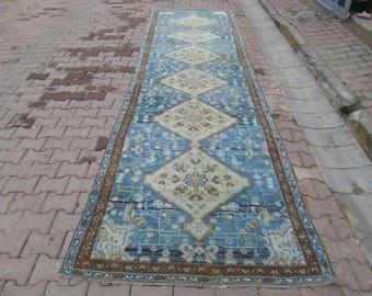 4.4x15.6 Ft Antique blue Persian runner rug