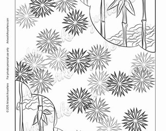 "Japanese Blossoms ""Firework Flowers and Tree Cloud Corners"" Adult coloring page printable download from Artwork Anywhere ~hand drawn design~"