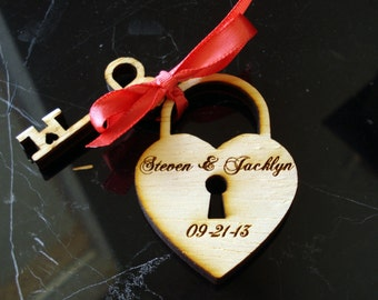 Heart and Key Wedding Favors 35 pieces Love Lock