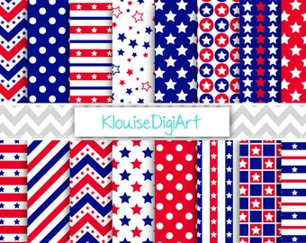 Red and Navy Blue 4th of July Patriotic Digital Papers with Stars, Stripes and Polka Dots for Personal and Small Commercial Use  - 0284