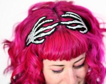 Skeleton Hands Headband, Women, Wired Hair Band, White, Neon Pink or Neon Green