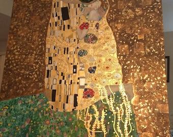 The Kiss - Gustav Klimt imitation gold leaf and acrylic recreation 48in X 48in (121cm X 121cm)