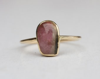Watermelon tourmaline ring, 14k gold ring, One Of A Kind Ring, October birthstone, Statement Ring