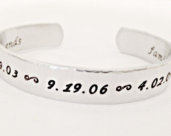 Special Dates Hand Stamped Secret Message Cuff Bracelet - Personalized Jewelry - Custom Mommy Grandmother Multiples Dates and Secret Message