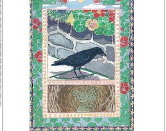 Artists Blank Note Cards, Crow  with nest, Walkway with Nasturtiums