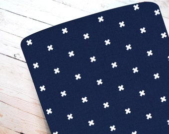 XOXO in Navy- Fitted Crib Sheet-STANDARD 100% Cotton ONLY