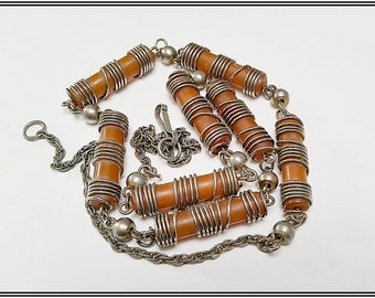 1930s Modernist Galalith and chrome necklace