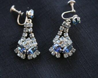 Vintage Blue & White Rhinestone Earrings
