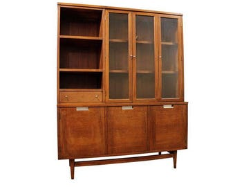 Mid-Century China Cabinet Danish Modern American of Martinsville Walnut Credenza/Display Case