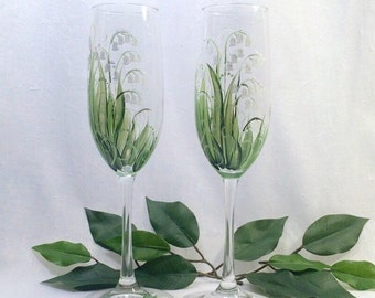 Free shipping Lily of the Valley hand painted pair of champagne flutes