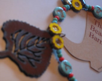 """NEW - Rusted Metal Aspen Leaf Pendant Necklace, Red Howlite, Mixed Colors Turquoise Yellow Green Blue, Copper, 19"""" Long"""
