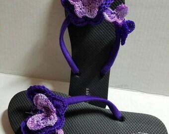 Crochet Slippers 3D Butterflies