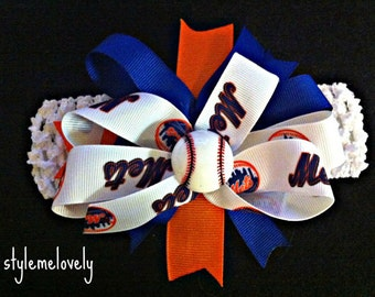 New York Mets Baby Girl Boutique Bow Crocheted Headband