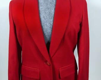 Pendleton Wool Vintage Women's Blazer Size 8 Lipstick Red 1980s FREE SHIPPING