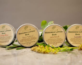 Moistuizing Beeswax Lotion Bar, 1.25 ounce, Solid Lotion, 5 Scents Available