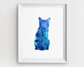 Cat Nursery Art,  Nursery Cat Print,  Baby Cat Printable, Large Wall Art,  Blue Cat Print, Room Wall Art, Cat Art Printable, Nursery Decor