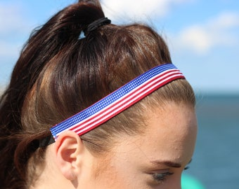 4th July American Flag Headband - USA Headband - Patriotic Headband Fourth of July Outfit - Choice Size- Red White and Blue Headband