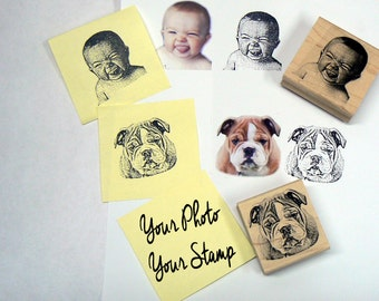 Your photo - Your Stamp- Custom made Rubber Stamp- Faces