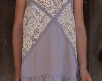 Mallie Sleeveless Girls Tunic in Gray