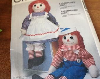 """Vintage Mccalls Pattern 5667, 8378, 712, Raggedy Ann Pattern, 36"""" Doll Pattern, 80's Raggedy Ann Pattern"""