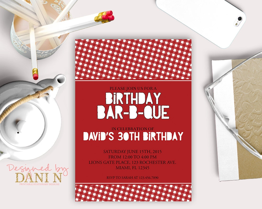 Barbecue Birthday INVITATION BBQ surprise 30th birthday