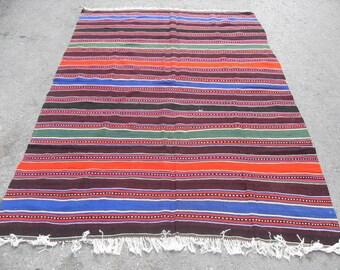 free shipping VINTAGE TURKİSH bİgadiç kilim Anatolian handwoven kilim rug decorative kilim - SİZE : 60'' X 92'' ( 150 cm X 230 cm)
