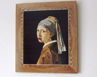 Wood Art, Inlay, Girl with a Pearl Earring, Johannes Vermeer, marquety, Vermeer art, original , wood wall art, Vermeer, Girl with a Pearl