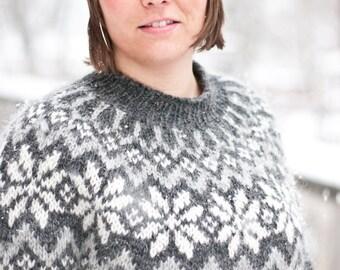 Snjóflyksa - pattern for Icelandic lopapeysa sweater / lopapeysa wool cardigan snowflake geometrical symmetrical circular yoke raglan