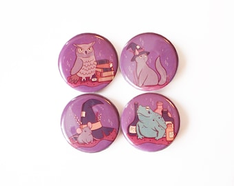 Badges, Witches Familiars, Owl, Cat, Rat, Toad, badge set, button pack, small buttons, backpack accessories, patches for bags