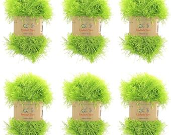 Eyelash Yarn - 50g - 6 Skeins - Color 36 - Pear Green