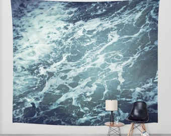 ocean wall tapestry, wall decor, photo tapestry,  sea tapestry, ocean tapestry, nautical, blue dark blue water