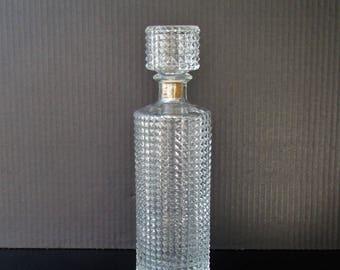 Mid Century Barware - Vintage Glass Decanter - Cut Glass Liquor Decanter- Diamond Cut Pattern - Vintage Barware - Simple Elegant Lines -