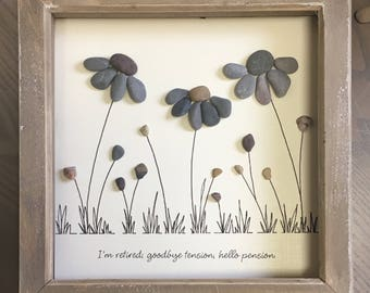 Retirement gift, Pebble Art Flower, special gift, Picture, gift for retirement, Mum, friend, everlasting flower, unique gift, made to order.