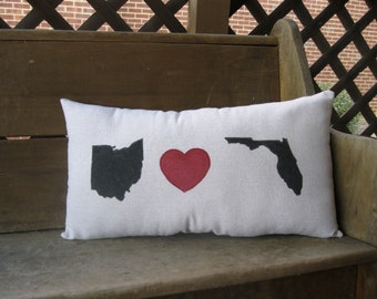 Pillow - CUSTOMIZE - State - State shapes - Heart - Farmhouse - Farmhouse Decor - Rustic - 12x22 inch - Personalized Pillow - Custom Pillow