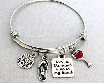 Toes in the Sand Wine in my Hand, Beach Charm Bangle, Beach Bracelet, Wine Charm Bracelet, Beach Lover Gift, Flip Flop Charm