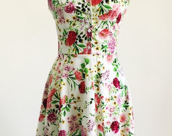 Spring flower dress, floral dress, summer dress, vintage style dress, mid-length dress, cotton dress, 50s dress, garden party dress